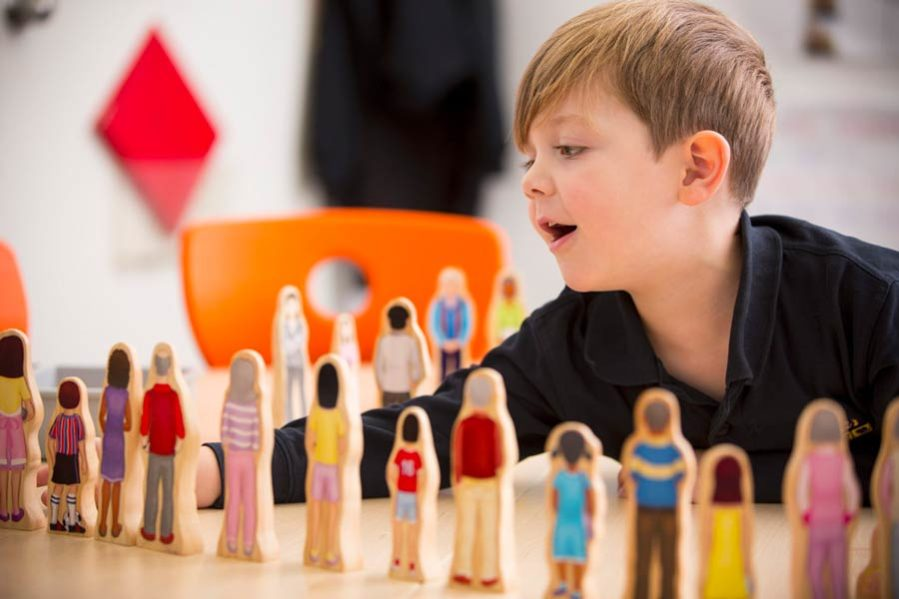 Student interacts with figurines of people
