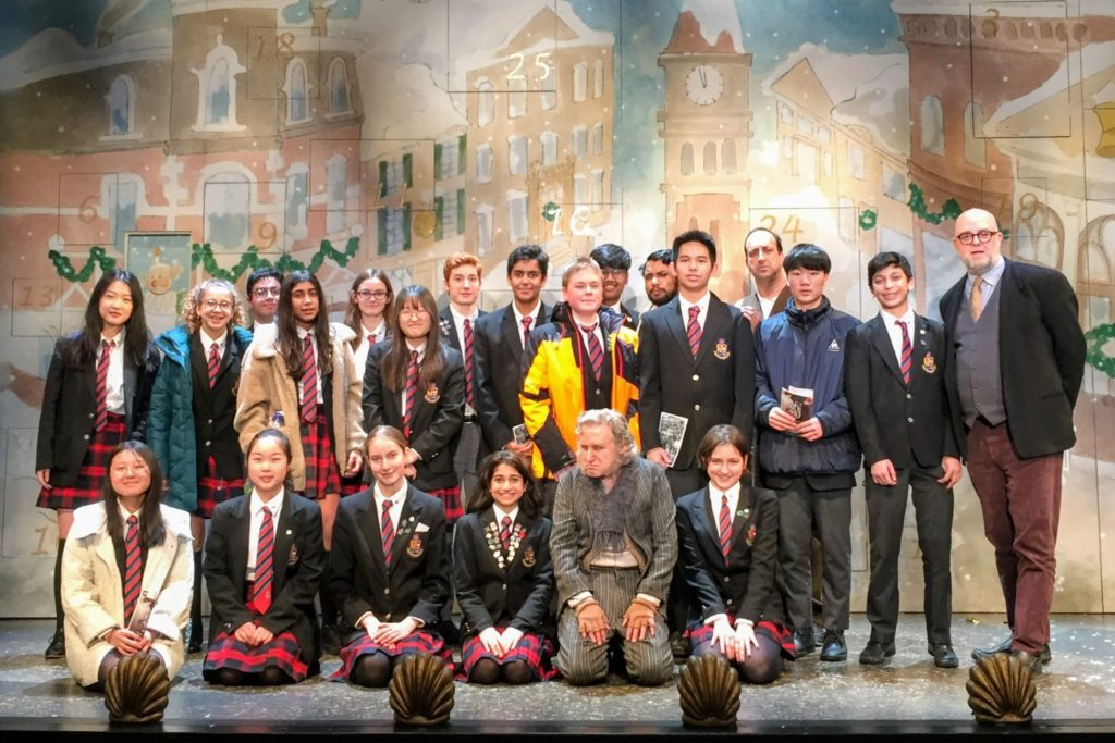 MacLachlan College grade 9 students and teachers at the Shaw Festival performance of A Christmas Carol