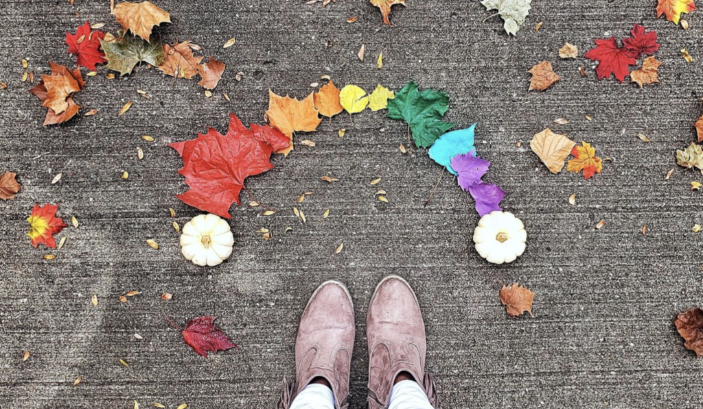 Feet with Rainbow Leaves